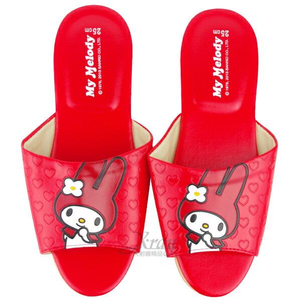 X射線【C522681】美樂蒂室內皮製拖鞋(紅色),兒童拖鞋/室內拖鞋/舒適拖鞋/休閒拖鞋/夾腳拖/涼鞋