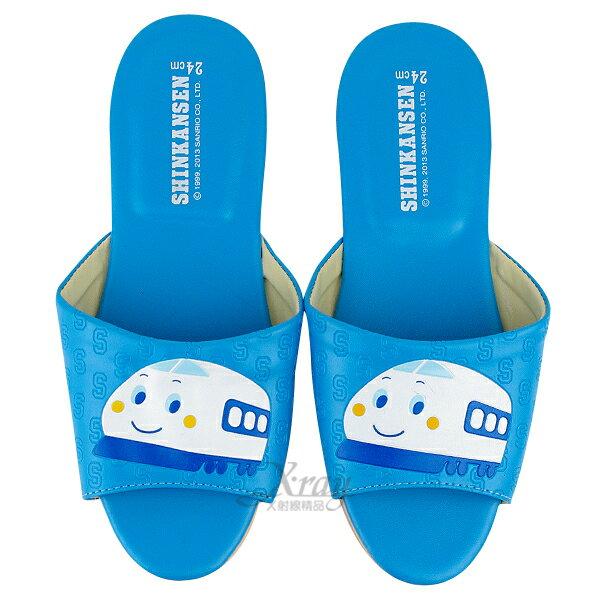 X射線~C522766~新幹線室內皮製拖鞋^(藍色^),兒童拖鞋  室內拖鞋  舒適拖鞋