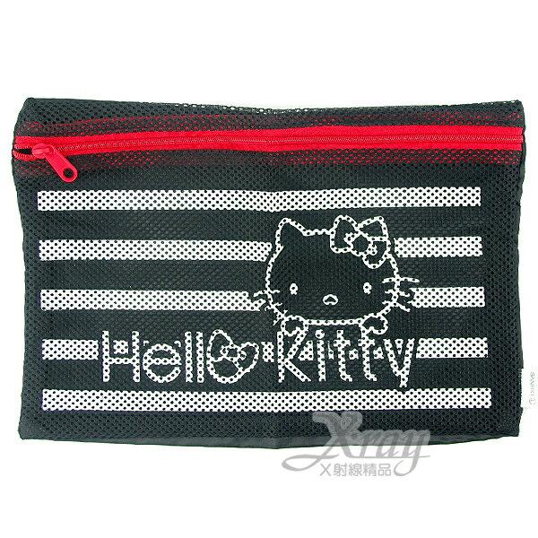 X射線【C105957】Kitty網狀拉鍊袋(M.黑.KT臉 ),多用途網狀透明拉鍊袋/文件袋/多用途收納袋/旅行必備~