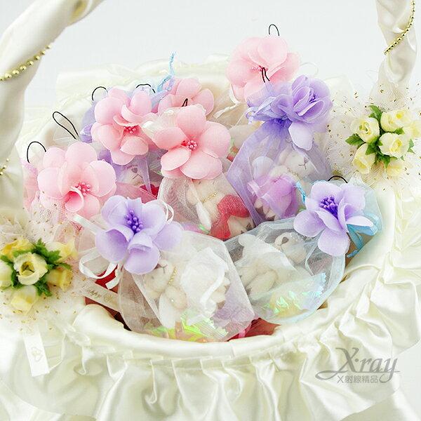 X射線【Y110010】小花熊熊糖果紗袋(含紗袋+糖果+小熊+裝飾花),第二次進場/送客/婚禮小物