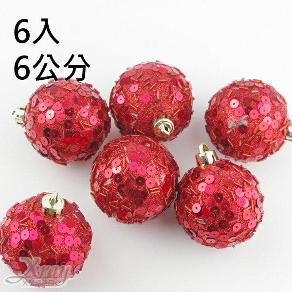 X射線【X168010】6入6公分鍍金球(紅色.珠寶),聖誕/聖誕佈置/裝飾/吊飾/交換禮物