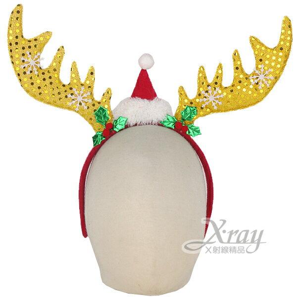 X射線【X419065】大雪花聖誕帽鹿角戴飾(金),聖誕髮箍/聖誕裝/髮圈/聖誕襪 /聖誕老人衣/聖誕裝飾