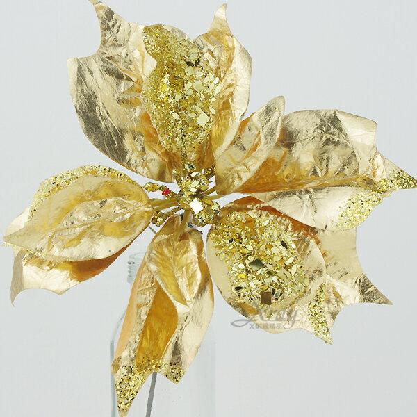 X射線【X110037】聖誕花(金色.皮質),聖誕裝飾/聖誕花材/聖誕襪/聖誕樹/聖誕吊飾/聖誕擺飾