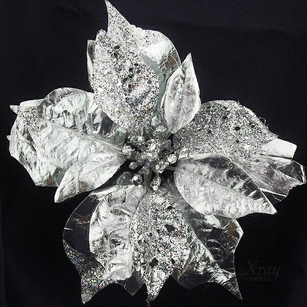 X射線節慶王【X110038】聖誕花(銀色.皮質),聖誕裝飾/聖誕花材/聖誕襪/聖誕樹/聖誕吊飾/聖誕擺飾