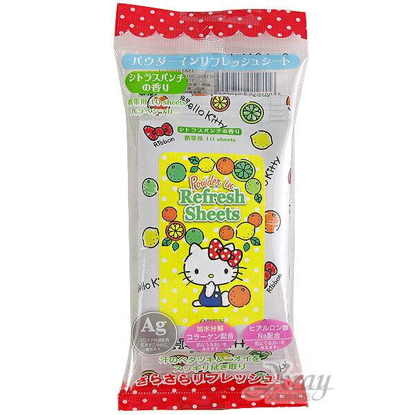 X射線【C819555】Kitty濕紙巾水果香味(黃.綜合)10抽,外出攜帶方便/韓國製