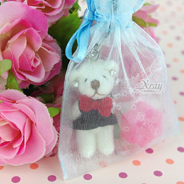 X射線【Y110050】婚禮小物組29(方型紗袋+熊+糖果),送客糖果袋/喜糖盒/紗袋/婚禮小物