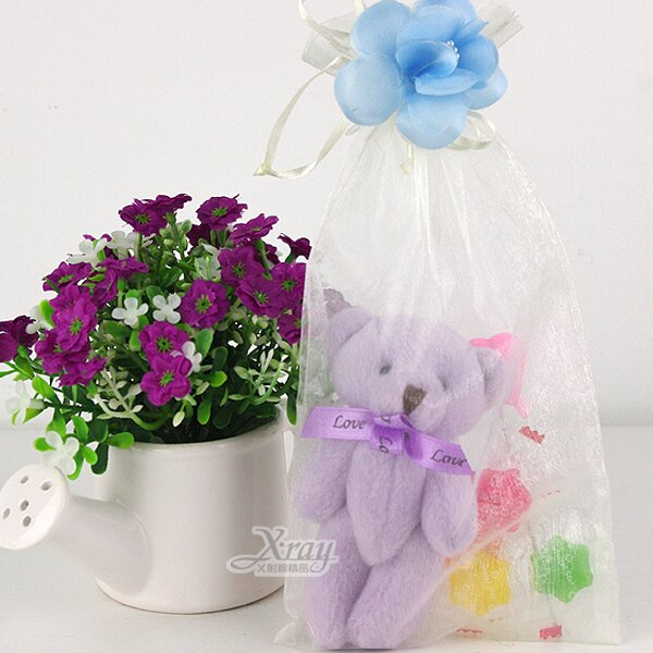 X射線【Y110014】婚禮小物組79(方型紗袋+熊+糖果+小花+心),送客糖果袋/喜糖盒/紗袋/婚禮小物