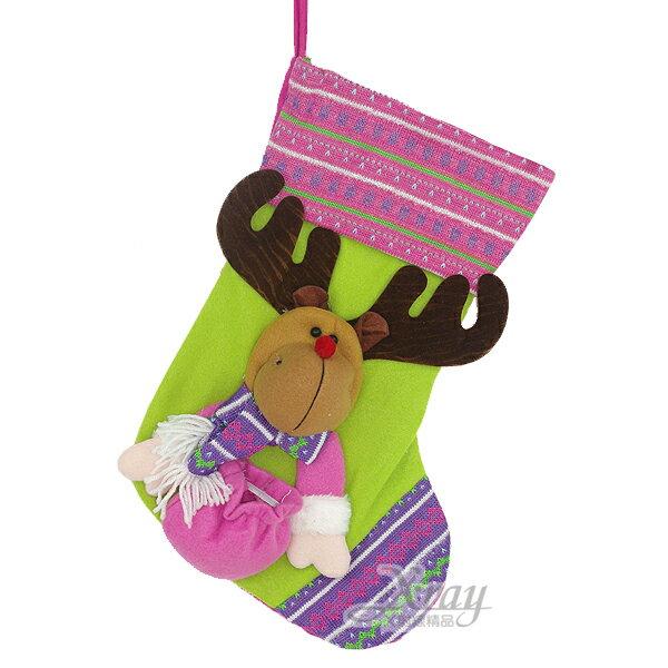 X射線【X296545】19吋禮物袋玩偶聖誕襪(麋鹿),聖誕節/交換禮物/掛飾/裝飾/吊飾