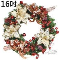 幫家裡聖誕佈置裝飾推薦聖誕樹及聖誕花圈到X射線【X102811】16吋成品樹圈(紅奶白),聖誕節/聖誕佈置/聖誕掛飾/聖誕裝飾/聖誕吊飾/聖誕花材/ 聖誕佈置裝飾推薦就在X射線 精緻禮品推薦幫家裡聖誕佈置裝飾