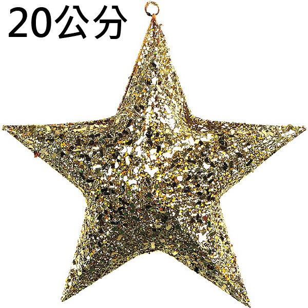 X射線【X203548】20公分立體星星(2入半空)(金),聖誕節/聖誕佈置/聖誕掛飾/聖誕裝飾/聖誕吊飾