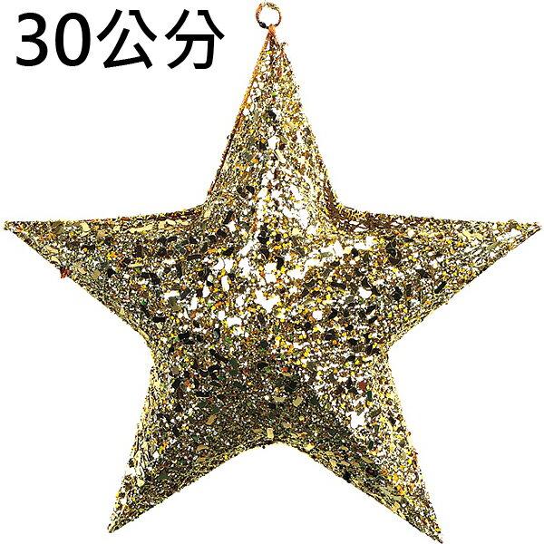 X射線【X203760】30公分立體星星(2入半空)(金),聖誕節/聖誕佈置/聖誕掛飾/聖誕裝飾/聖誕吊飾