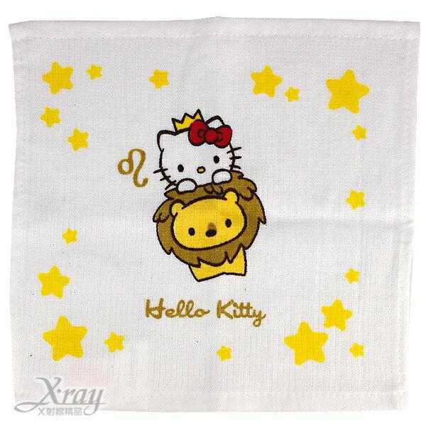 X射線【C251542】Kitty純棉星座小方巾-獅子座(白.皇冠),口水巾/洗澡巾/紗布巾/毛巾/開學必備/攜帶方便