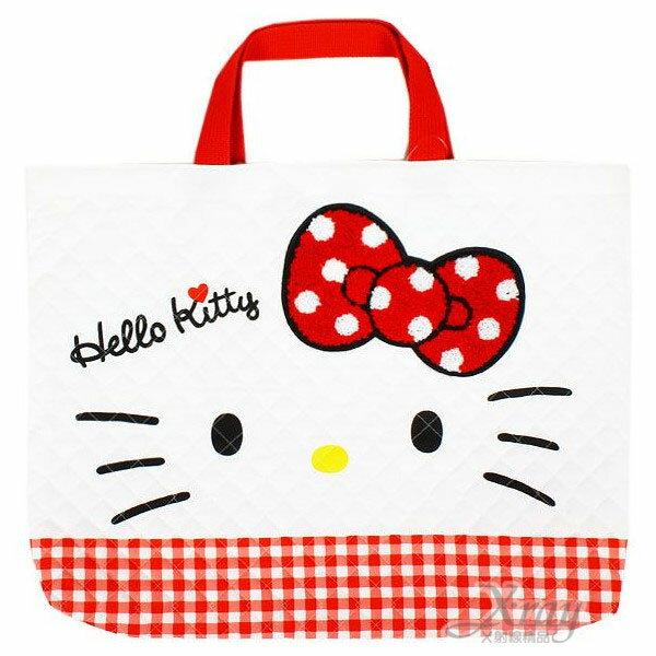 X射線【C227985】Hello Kitty 日製布質手提袋《L.白.大臉》布面菱格縫線,美妝小物包/筆袋/面紙包/化妝包/零錢包/收納包/皮夾