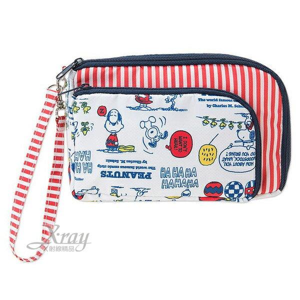 X射線【C448489】史努比尼龍隨身手機包《白.熱氣球.對話》 ,3C手機收納包/手機袋