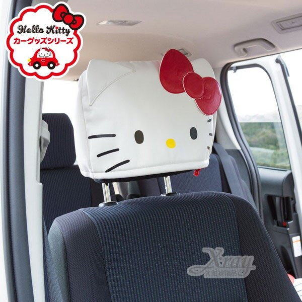 X射線【C537305】Hello Kitty 車用造型椅頭套《單入.白.頭型》,車用頭枕套