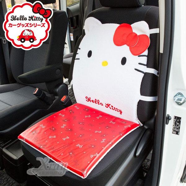 X射線【C537343】Hello kitty 汽車用座椅墊(白紅.大臉.蝴蝶結),車用前座椅墊