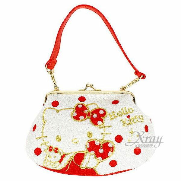 X射線【C725146】Hello Kitty 手提錢包(紅.點點.拿愛心),手拿包/相機包也可當作晚宴包
