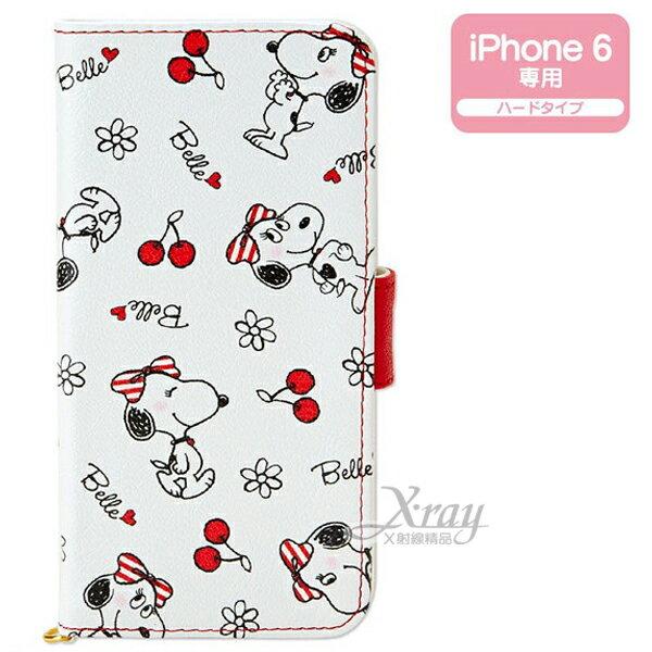 X射線【C797440】史努比貝兒iPhone6 保護皮套《白.動作.櫻桃滿版》書本扣式.內有隔層 ,手機殼/手機套/智慧型手機