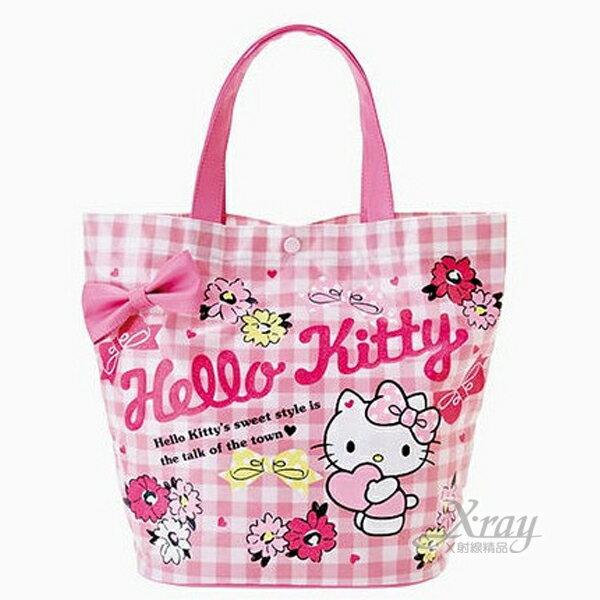 X射線【C827789】Hello Kitty 手提袋《水桶型.桃紅.格紋.立體蝴蝶結》表層防水加工,手提包/手提袋/水桶包