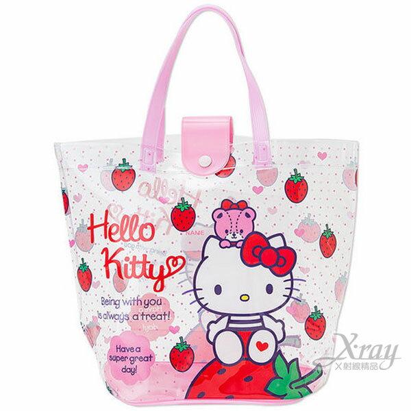 X射線【C828151】Hello Kitty 防水水桶型提袋《粉點.透明.草莓.小熊》夏季包.海灘玩水必備