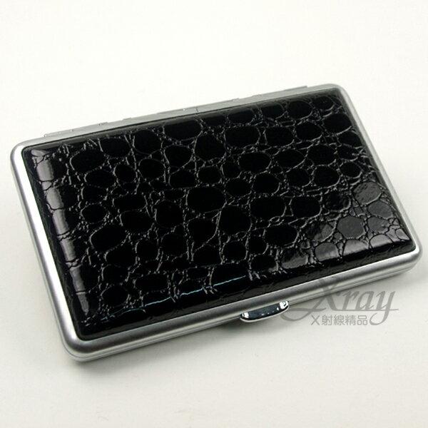 X射線~Y050180~黑色亮面皮革格紋 煙盒  名片盒,情人節