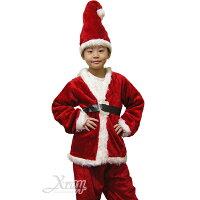 送小孩聖誕禮物到X射線【X905963】豪華四件式小孩老公公衣, 聖誕衣/聖誕帽/聖誕襪/聖誕禮物袋/聖誕老人衣服