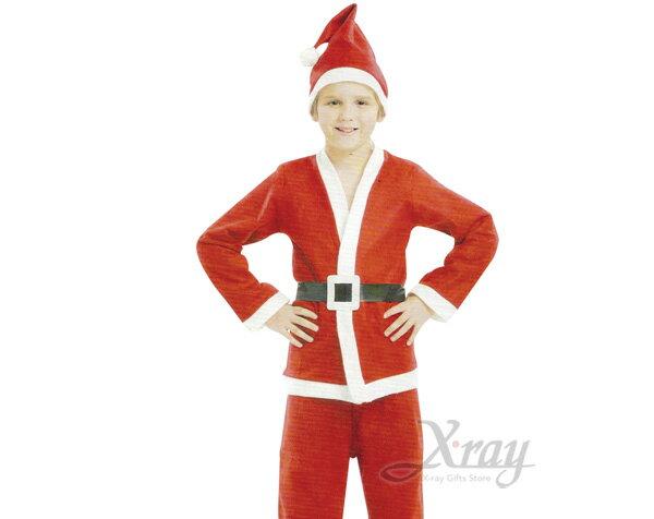 X射線【X912558】四件式小孩老公公衣, 聖誕衣/聖誕帽/聖誕襪/聖誕禮物袋/聖誕老人衣服