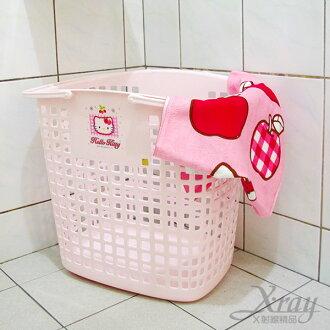 X射線【C130025】Kitty浴室洗衣籃(粉色.草莓),收納桶.收納籃.附輪子.韓國製