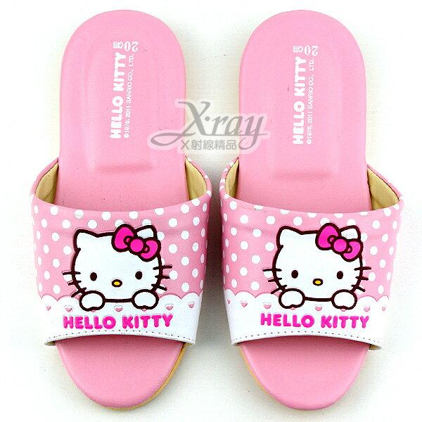 X射線【C958354】Kitty圓點室內皮製拖鞋-粉紅,兒童拖鞋/室內拖鞋/舒適拖鞋/休閒拖鞋/生活居家/台灣製
