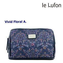 【le Lufon】小碎花卉印花布拼接皮革 化妝包/手拿包/萬用包/多功能淑女隨身包-Vivid A (共6色)