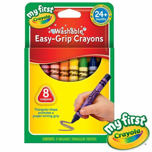 《 美國 Crayola 繪兒樂 》幼兒可水洗三角蠟筆8色