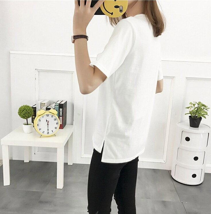 【V2469】shiny藍格子-休閒夏日.刺繡圖樣字母圓領短袖上衣 5