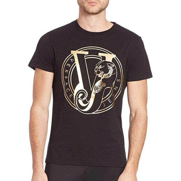 美國百分百【全新真品】Versace凡賽斯圓領短袖T恤logoT-shirtS號燙金黑色J118