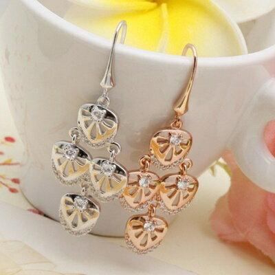 925純銀耳環鑲鑽耳飾~ 風格 大方母親節生日情人節 女飾品2色73dm269~ ~~米蘭