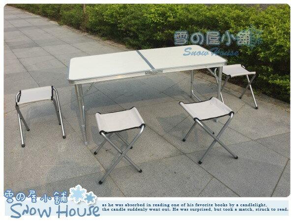 ╭☆雪之屋小舖☆╯@限時限量特價優惠@無傘孔高級鋁合金折合桌折疊桌收納露營野餐桌椅 (一桌四椅)