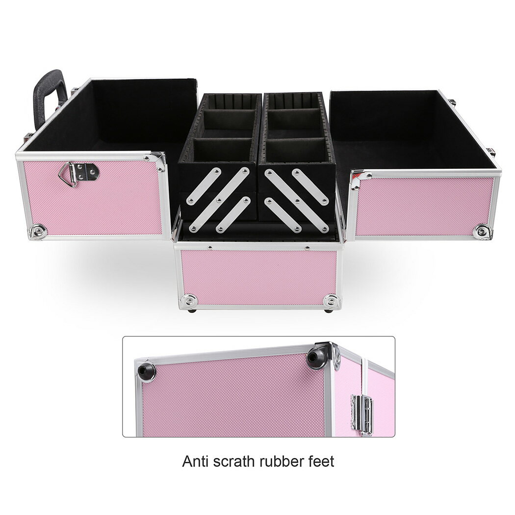 Home Case Jewelry Box Lockable Cosmetic Organizer Makeup Box 4