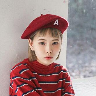 50%OFF【E018698H】韓版A字母刺繡氣質畫家帽毛呢貝雷帽呢料秋冬款小?帽森女帽