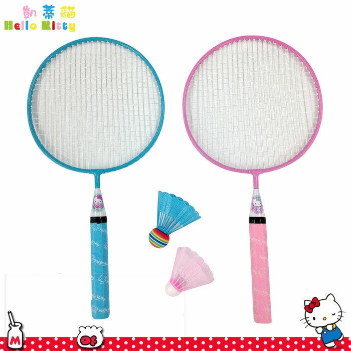 Hello Kitty凱蒂貓 羽球拍組2枝入 粉藍透明 羽球拍附專用收納套 日本進口正版 138647