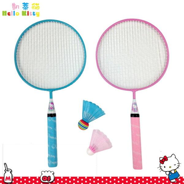 HelloKitty凱蒂貓羽球拍組2枝入粉藍透明羽球拍附專用收納套日本進口正版138647