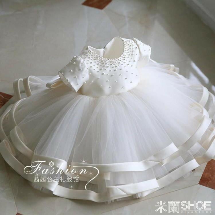 花童禮服 兒童公主裙花童婚紗蓬蓬紗鋼琴演出服小主持人白色
