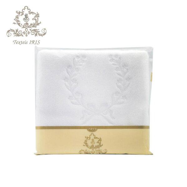 葡萄牙TexteisIRIS頂級棉製50*70cm地墊腳踏墊(桂冠繡花純白色)
