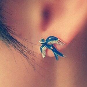 美麗大街【GE213】歐美外貿飾品 復古小燕子耳釘 耳飾