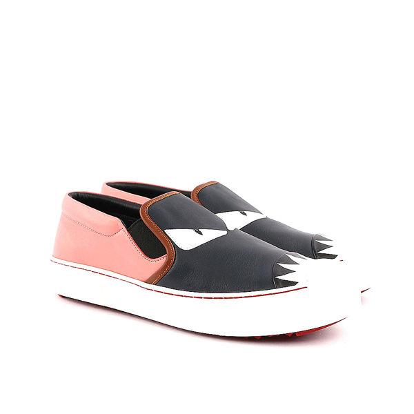 【FENDI】Monster slip on皮革怪獸厚底鞋(粉黑色) 8E5110 4RU FO1ZL