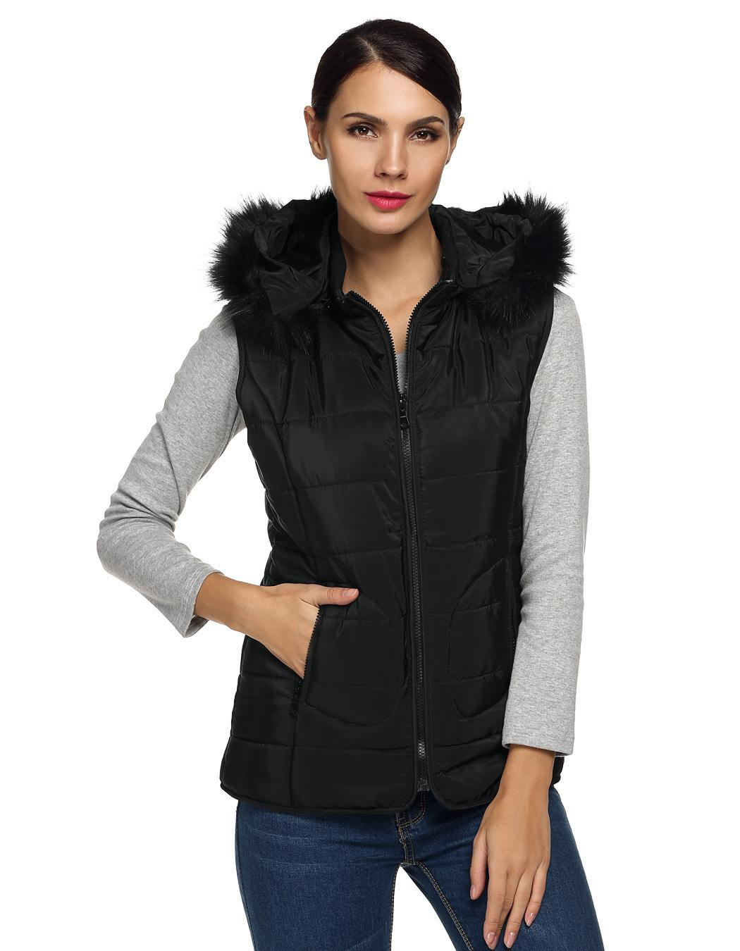Women Sleeveless Detachable Hat Fur Collar Outwear 1