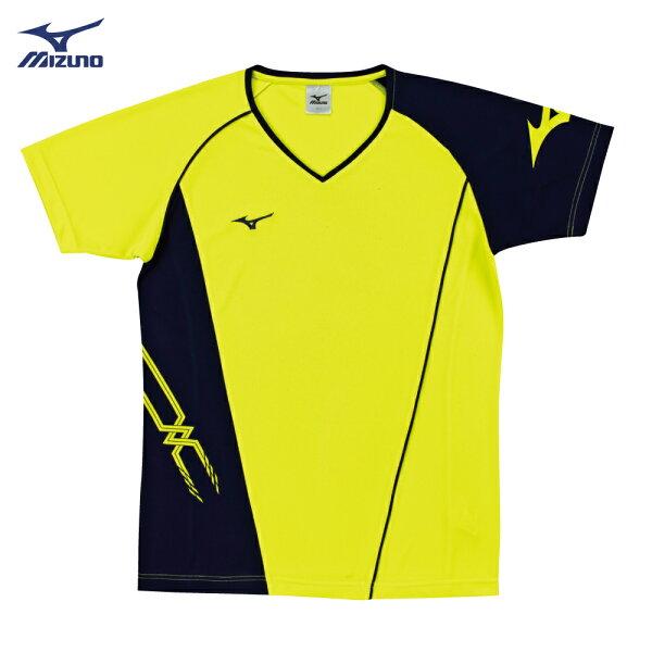 V2TA7G2445(螢光黃X深丈青)男女通款吸汗快乾、抗紫外線SlimFIT合身版型排球上衣(【美津濃MIZUNO】