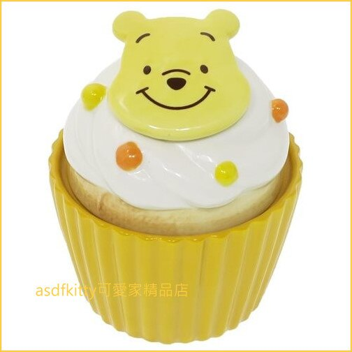 asdfkitty可愛家☆小熊維尼杯子蛋糕造型陶瓷收納罐/置物罐-日本正版商品