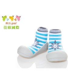 【淘氣寶寶】韓國【Attipas】快樂腳襪型學步鞋-船長淺藍M
