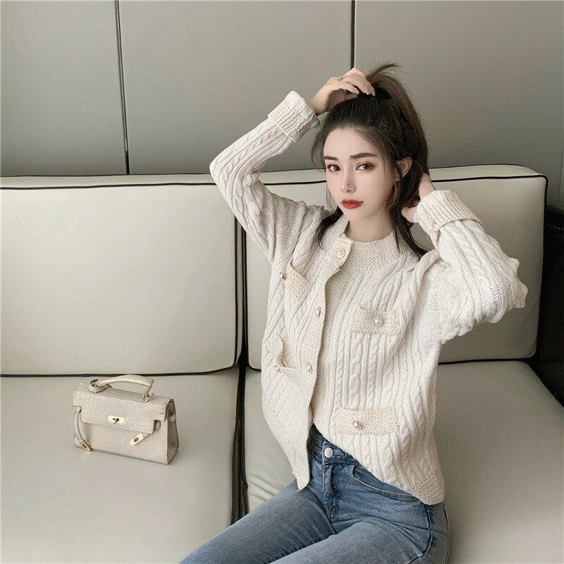 日系溫柔風粗線麻花針織開衫年秋冬裝新款慵懶寬松毛衣外套女