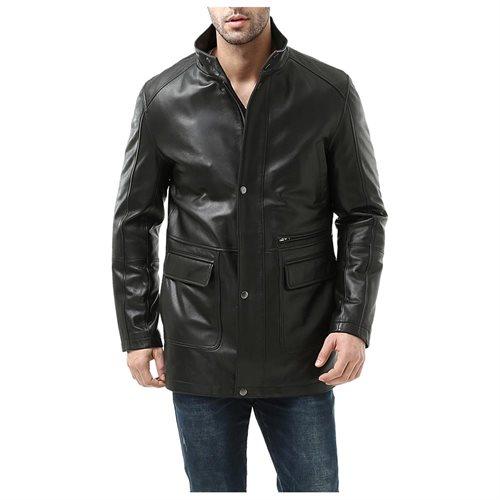 "BGSD Men's ""Kyle"" New Zealand Lambskin Leather Car Coat 9d9e42d03e1ee577a1429fd7843ec228"