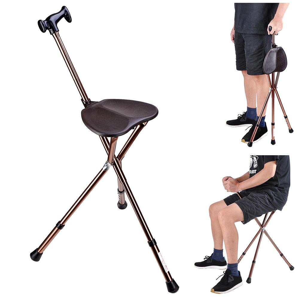 Astonishing Folding Walking Stick With Seat Adjustable Height Tripod Cane Hiking Chair Aluminium Portable Gmtry Best Dining Table And Chair Ideas Images Gmtryco